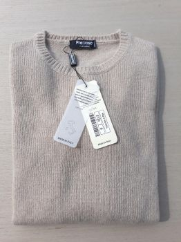 women's knitwear 100% cashmere beige crewneck Made In Italy | wholesale
