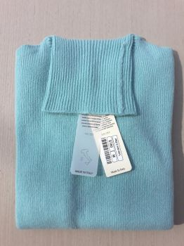 women's knitwear 100% cashmere aquamarine turtleneck Made In Italy | wholesale