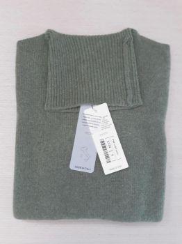 frau pullover 100% kaschmir moosgrün rollkragen Made in Italy | großhandel