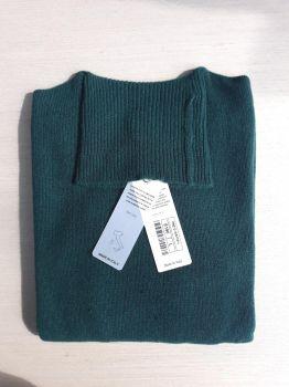suéteres para mujer 100% cachemira verde botella cuello alto Hecho en Italia | al por mayor